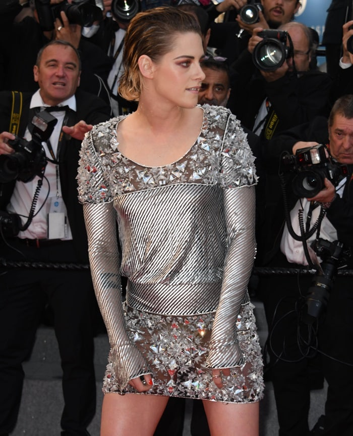 Kristen Stewart in a metallic mini dress from theChanel Fall 2013 Haute Couture collection
