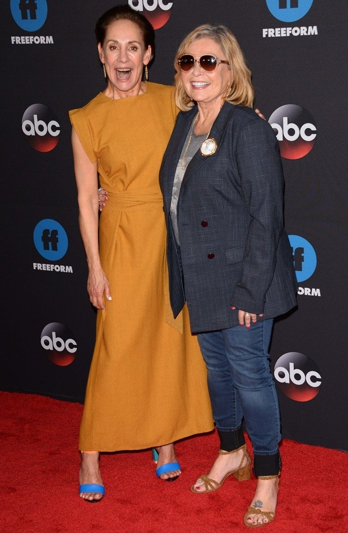 Laurie Metcalf and Roseanne Barr walk the red carpet while attending the ABC Upfronts in New York City on May 15, 2018