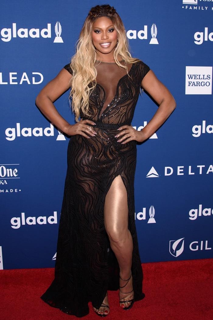 Laverne Cox in a Tadashi Shoji dress at the 2018 GLAAD Media Awards