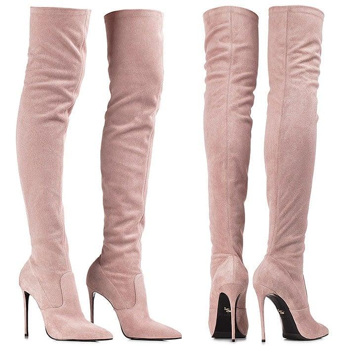 Le Silla Eva pink stretch suede boots