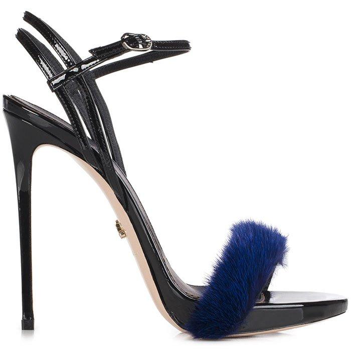 Le Silla Gaga mink fur patent sandals blue