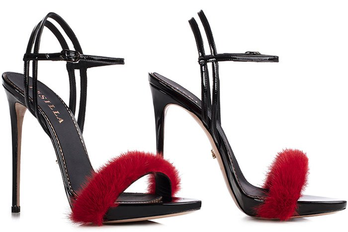Le Silla Gaga mink fur patent sandals red