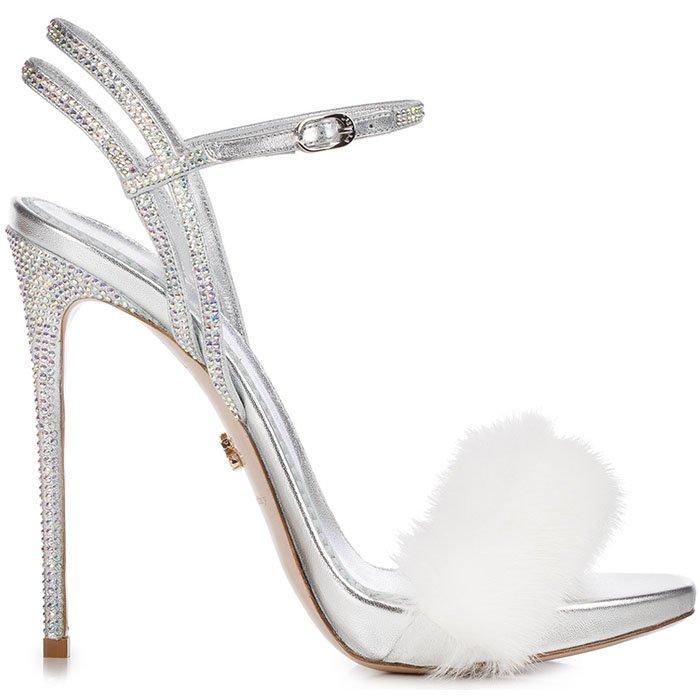 Le Silla Gaga silver crystal white mink fur sandals