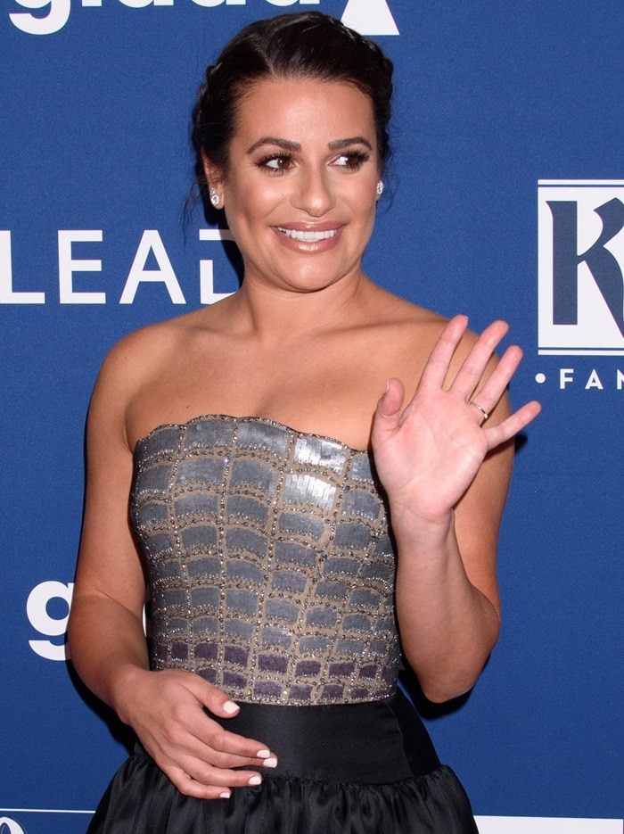 Lea Michele in a strapless tea length dress with sequin bodice from Reem Acra