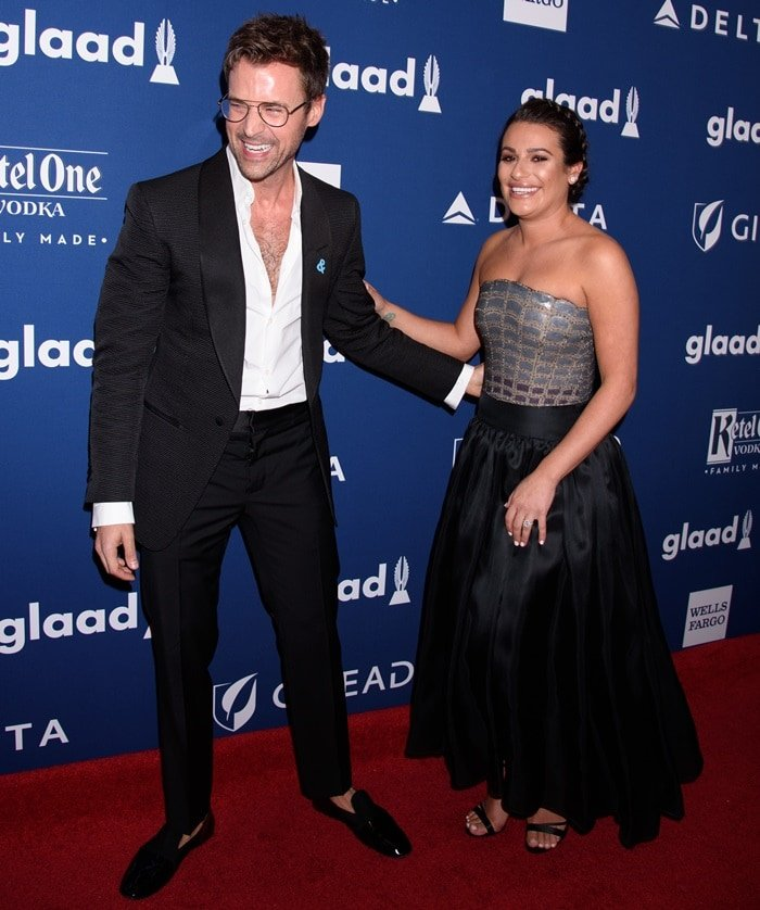 Lea Michele and Brad Goreski at the 2018 GLAAD Media Awards at the Hilton Midtown Hotel in New York City on May 5, 2018