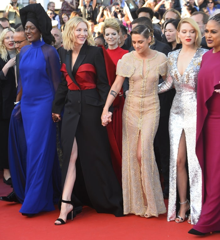 Lea Seydoux, Kristen Stewart, Cate Blanchett, Ava DuVernay, and Khadja Nin pose together during the closing ceremony in Cannes, France, on May 19, 2018
