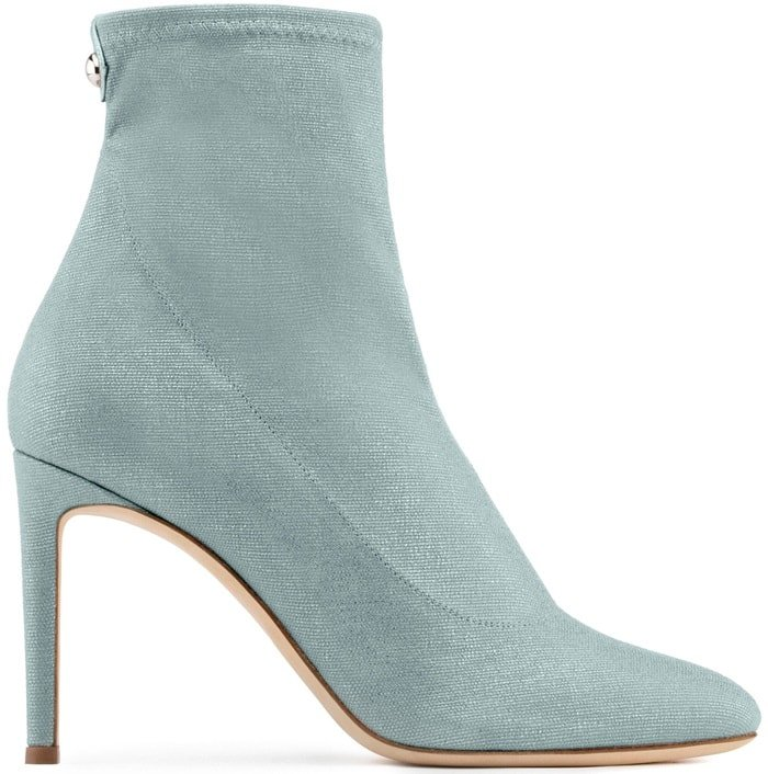 Light Blue Laminated Stretch Fabric 'Celeste' Boots