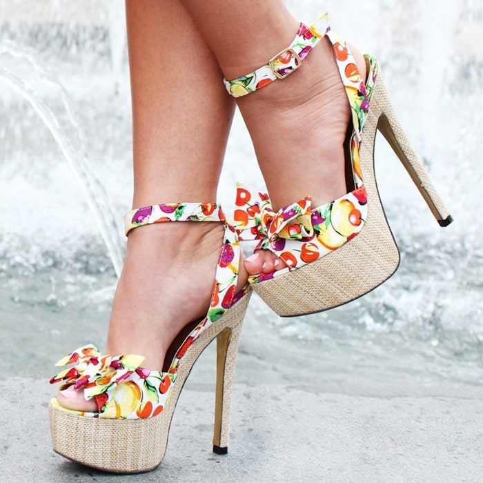 Red Fruit Print Love Potion Sandals