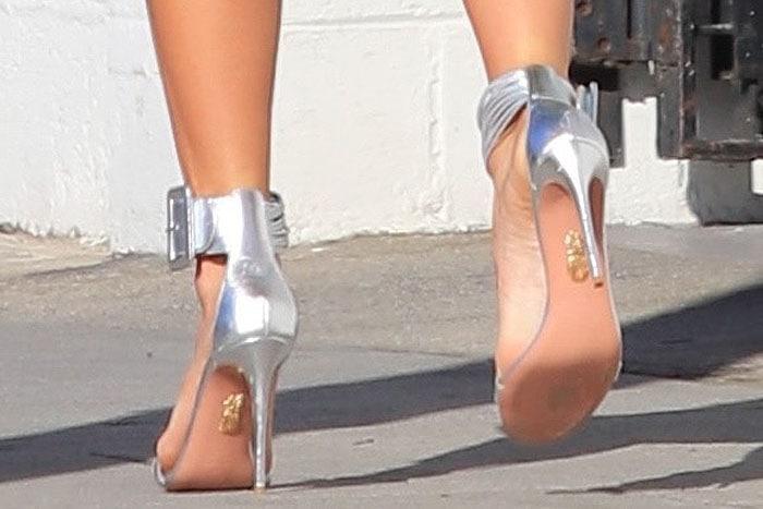 Mandy Moore's silver Aquazzura 'Casablanca' sandals up close.