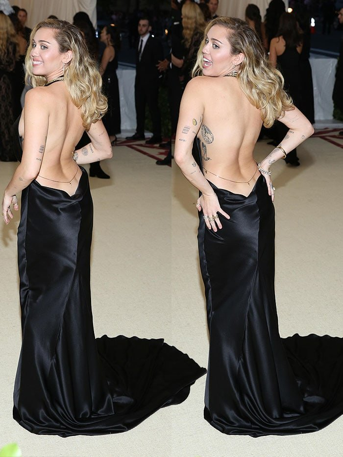 Miley Cyrus with no underwear in a Stella McCartney backless gown at the 2018 Met Gala.