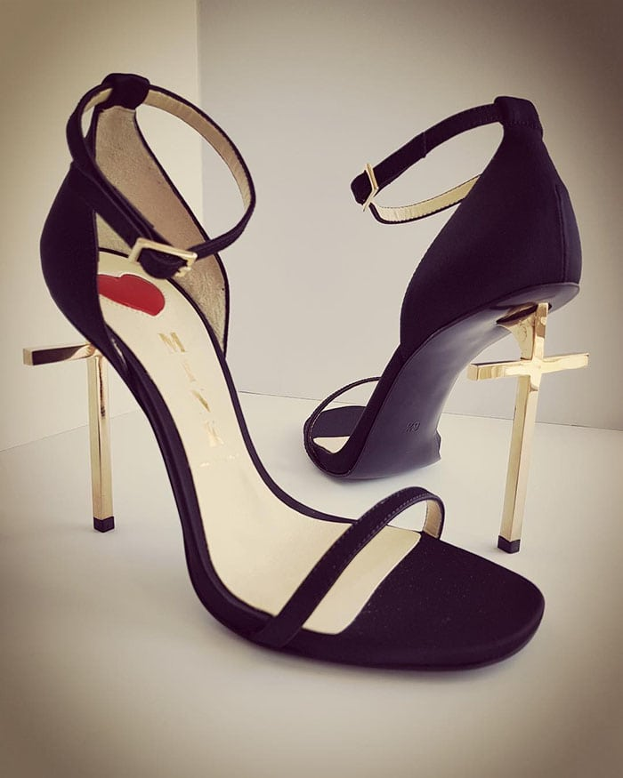 Miley Cyrus' custom vegan ankle-strap sandals with gold cross heels by Mink Shoes.