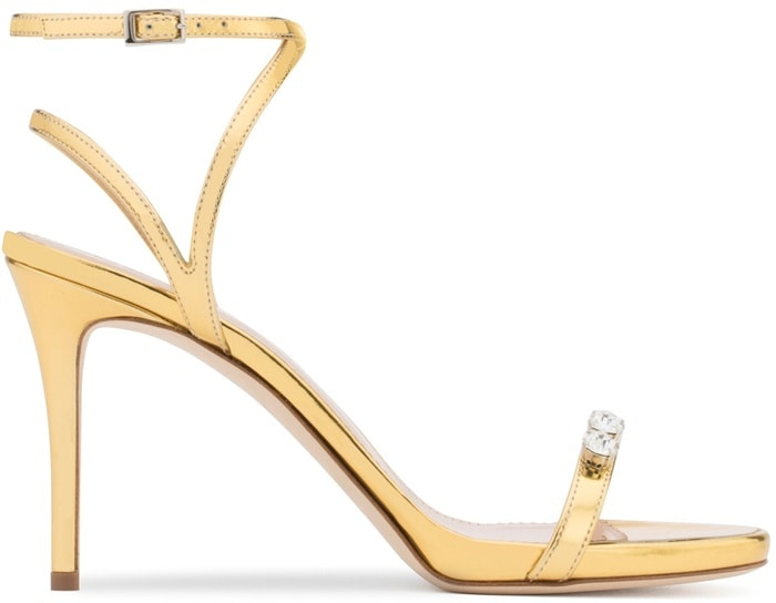 Gold Strappy 'Ellie' Sandal with Dual Crystal Embellishment