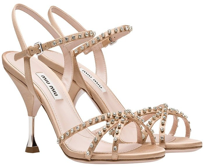 Miu Miu Crystal-Embellished Satin Ankle-Strap Sandals