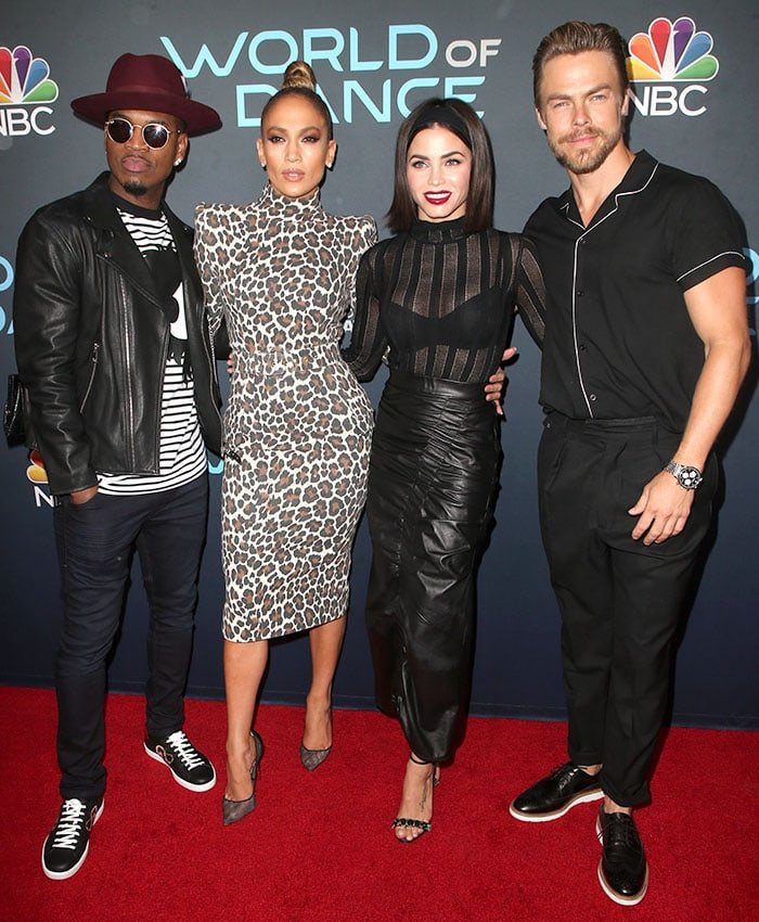 """Jennifer Lopez and Jenna Dewan flanked by Ne-Yo and Derek Hough at the """"World of Dance"""" For Your Consideration event."""