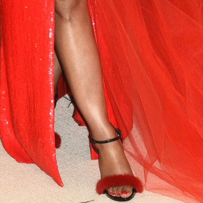 Nicki Minaj's feet in Le Silla 'Gaga' fur-embellished ankle-strap sandals