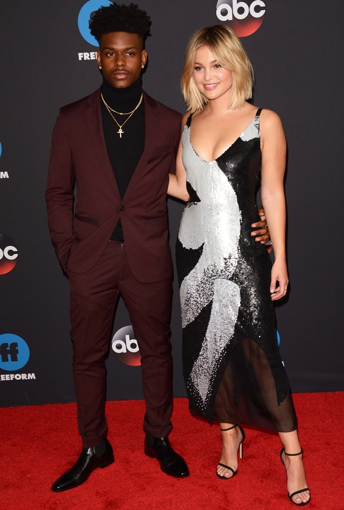 Olivia Holt and Aubrey Joseph at the 2018 ABC Freeform Upfronts held at Tavern On The Green in New York City on May 15, 2018