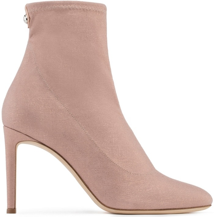 Pink Laminated Stretch Fabric'Celeste' Boots