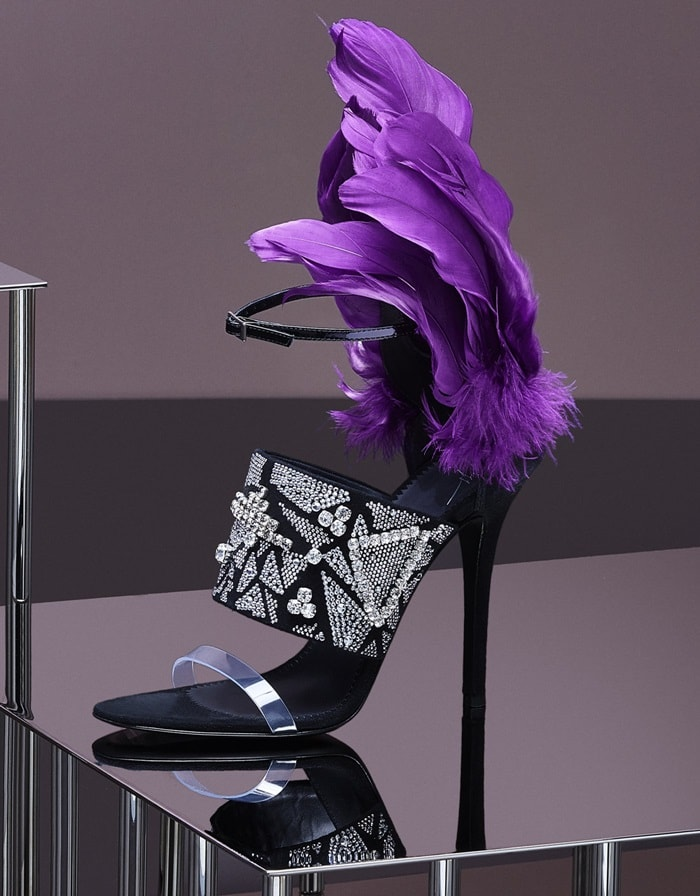 Plexi and Black Suede 'Talia' Sandal With Violet Feathers and Crystals
