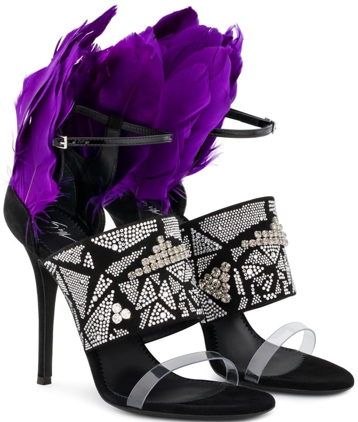 Plexi and Black Suede Talia Sandals With Violet Feathers and Crystals