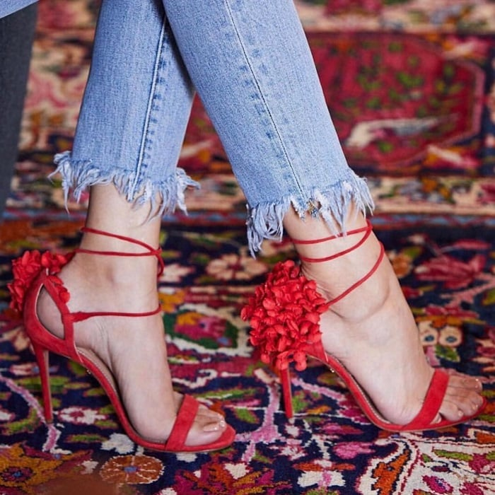 Red Lily of the Valley Appliquéd Canvas-Trimmed Suede Sandals