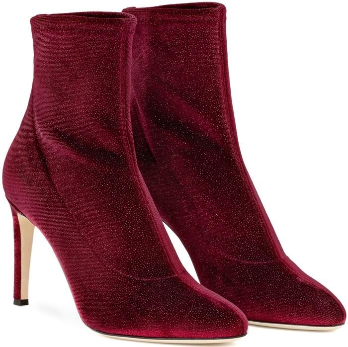Red Glitter Velvet Stretch Fabric 'Celeste' Boots