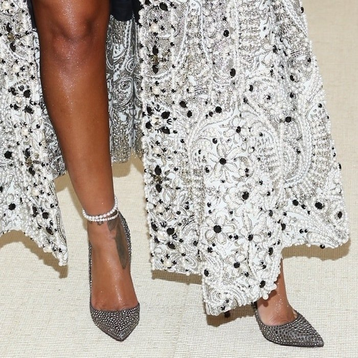 Rihanna's sexy feet in embellished Christian Louboutin pumps