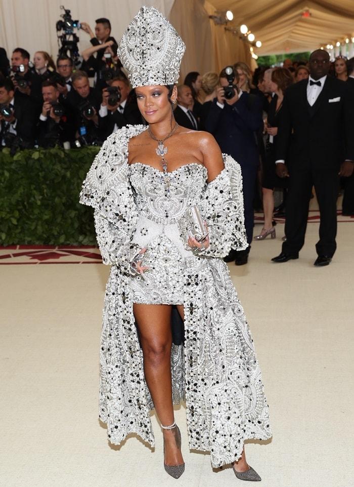 Rihanna in a white beaded Maison Margiela by John Galliano corset mini dress