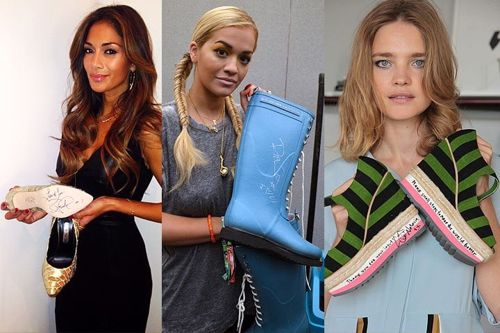 Nicole Scherzinger, Rita Ora, and Natalia Vodianova with their autographed shoe donations to the Small Steps Project celebrity shoe auction.