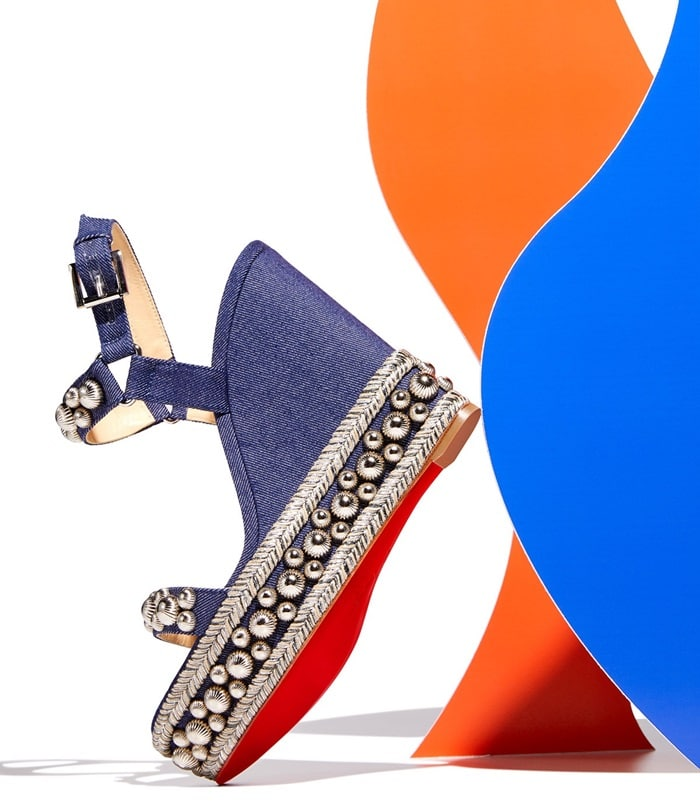 Christian Louboutin denim sandal with fluted studs