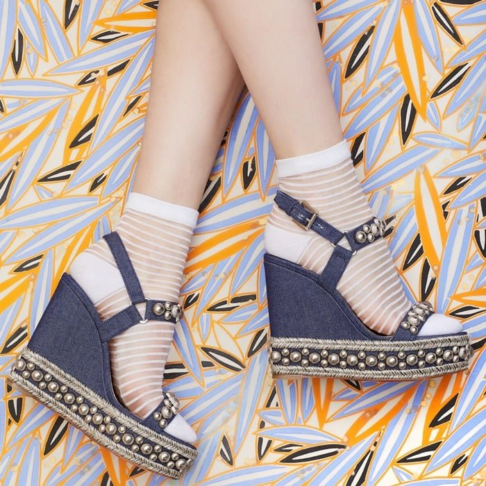Rondaclou Denim Wedge Sandals With Polished Studded Accents