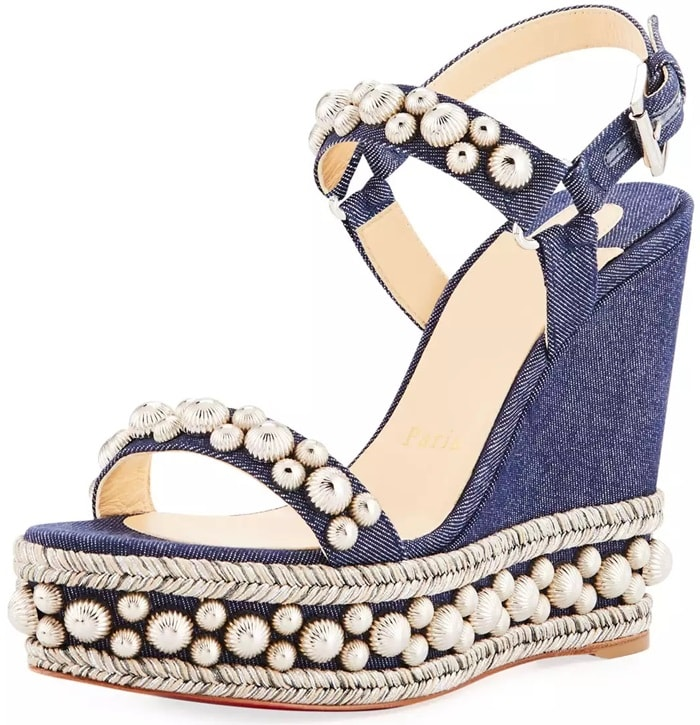 Denim Wedge Sandals With Polished Studded Accents