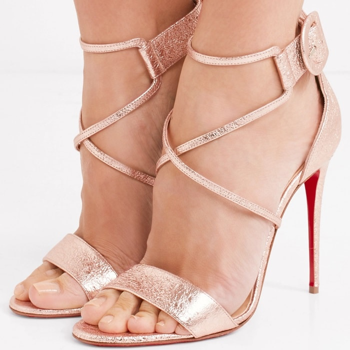 Rose Gold Cracked-Leather Choca Red Sole Sandals