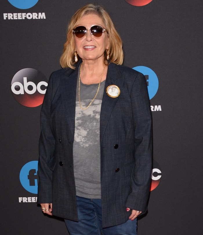 Roseanne Barr promoting her revived sitcom in New York City