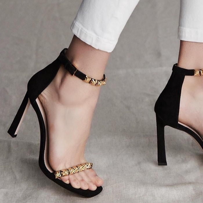 Rosist 100 studded glossed-leather sandals