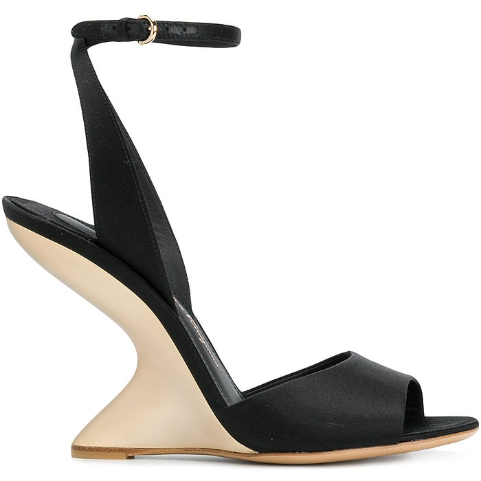 Salvatore Ferragamo 'Arsina' curved-wedge sandals black