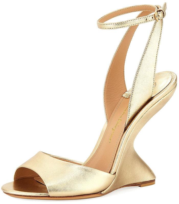 Salvatore Ferragamo 'Arsina' curved-wedge sandals gold