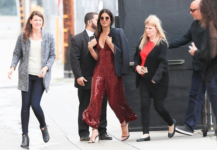 Sandra Bullock is seen arriving at the 'Jimmy Kimmel Live' on May 30, 2018 in Los Angeles, California