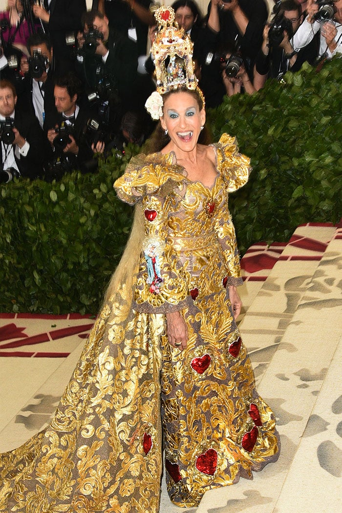 Sarah Jessica Parker in a Dolce & Gabbana gown at the 2018 Met Gala.