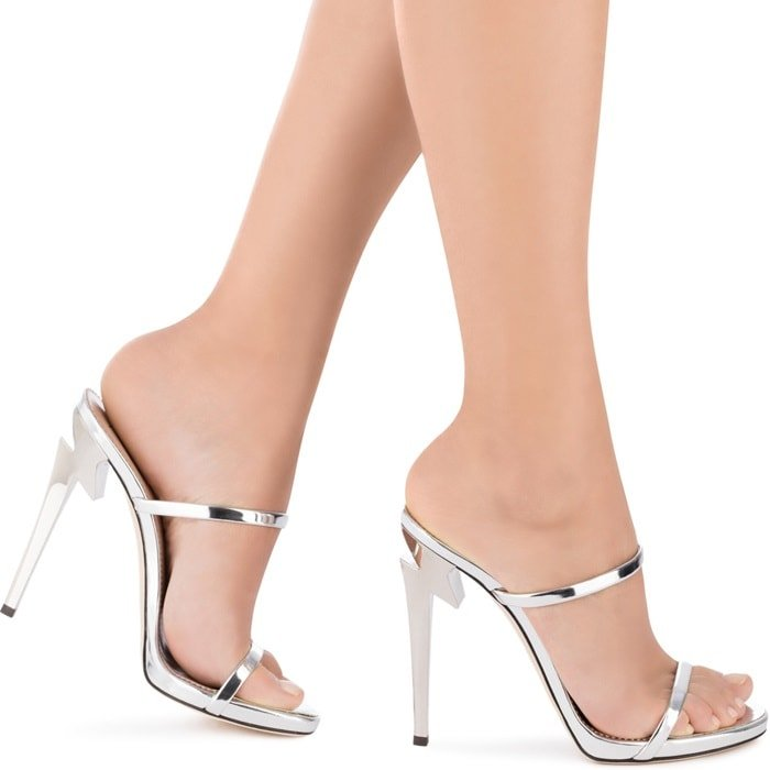 Silver patent 'G Heel' mule with sculpted heel