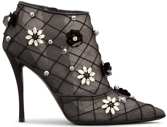 Ankle boots with rhinestone appliques, pearls and micro-sequins, metallic leather trims, side zip closing