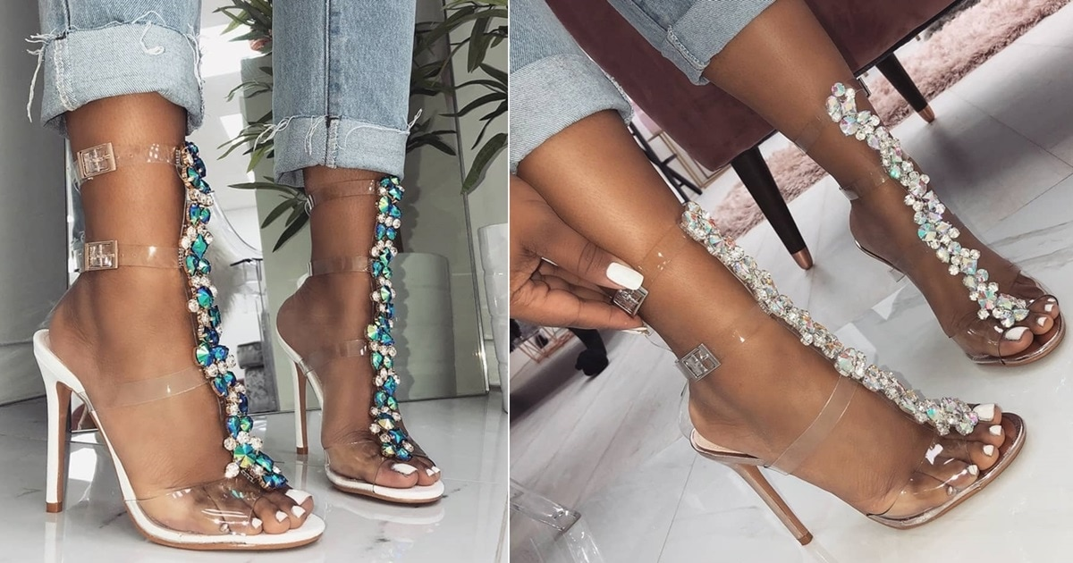 Gem Embellished Stiletto Sandals In Silver White Snake And