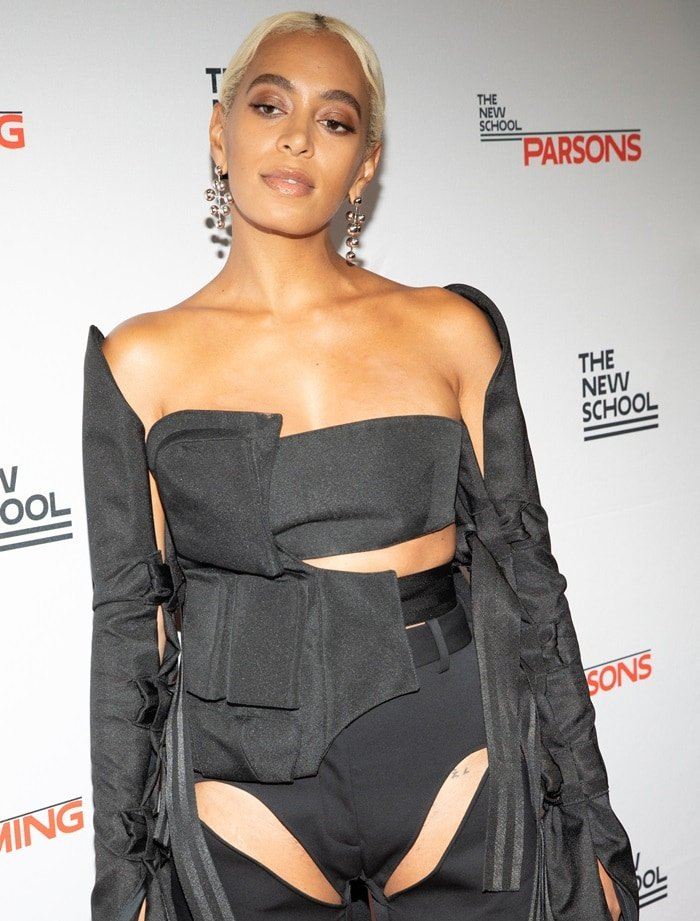 Solange Knowles looked like she'd been mauled by a bear in a black cut-out outfit from Shanel's Spring 2018 graduate show