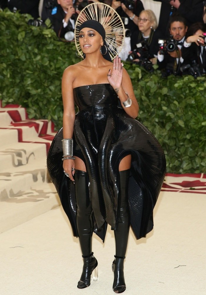 Solange Knowles showing off her PVC-sculpted vagina dress