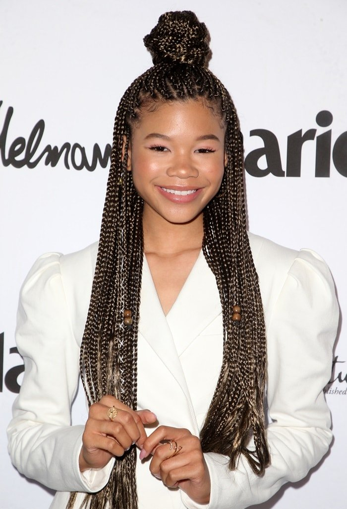 Storm Reid at the Marie Claire Fresh Faces issue celebration in Los Angeles on April 27, 2018