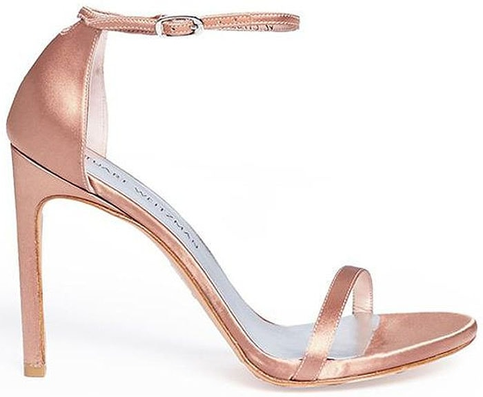 Stuart Weitzman 'Nudistsong' Satin Ankle-Strap Sandals