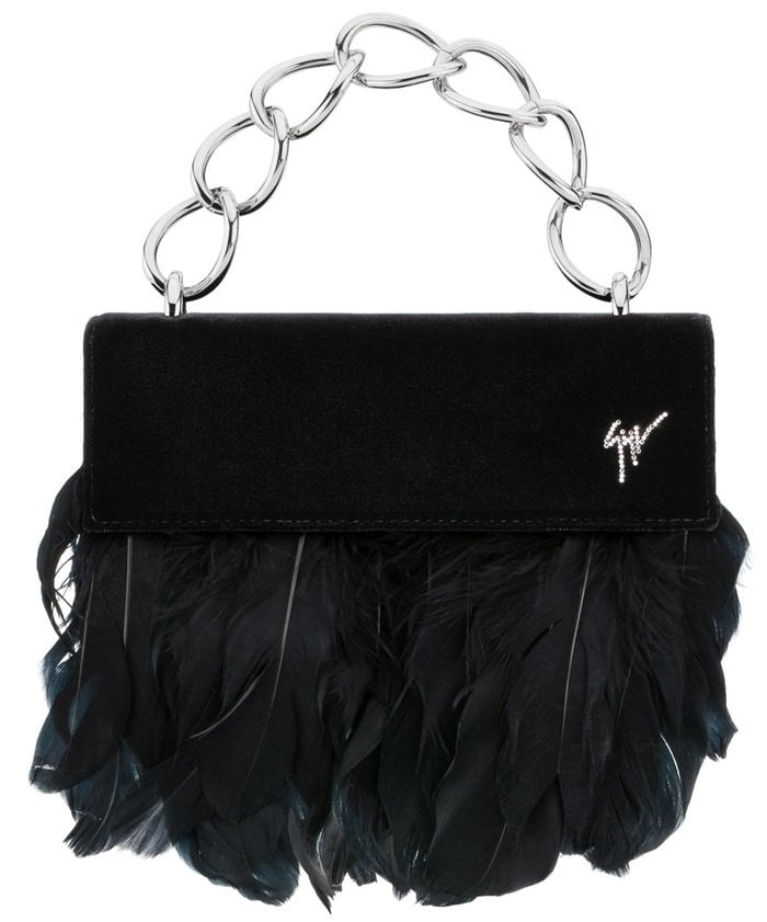 Black Velvet 'Talia' Clutch With Feathers