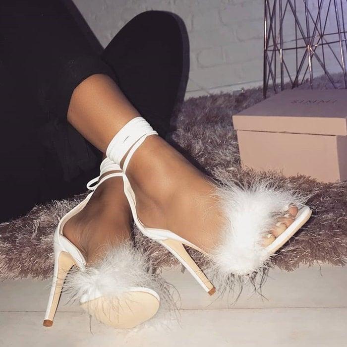 Fluffy Lace Up Tamaya Heels