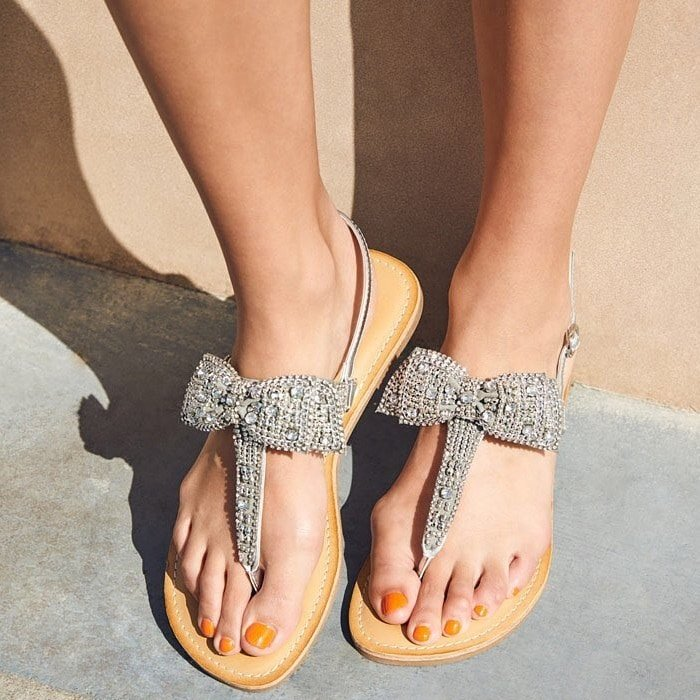 Glam Terena Embellished Flat Thong Sandals
