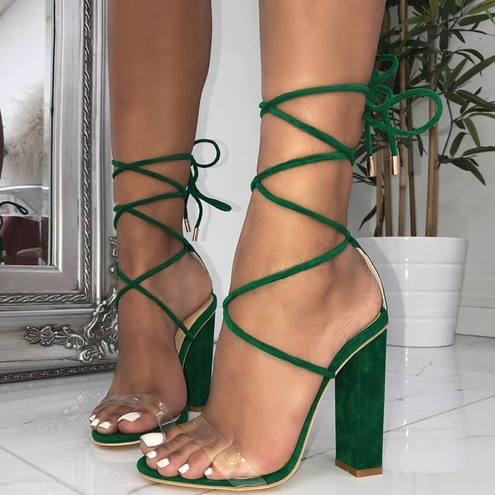 Suede Clear Lace Up Block Heels In 7 Amazing Colors