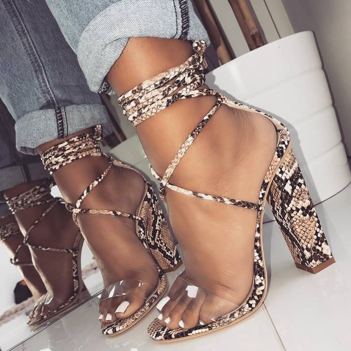 536ae9eee8f Suede Clear Lace Up Block Heels in 7 Amazing Colors